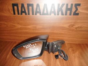 Skoda Octavia 6  2013-2018 ηλεκτρικά ανακλινόμενος καθρέπτης αριστερός μαύρος 9 καλώδια φως ασφαλείας